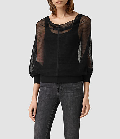 Elgar Lev Cowl - neckline: cowl/draped neck; pattern: plain; sleeve style: balloon; style: standard; predominant colour: black; occasions: casual, creative work; length: standard; fibres: wool - mix; fit: loose; sleeve length: 3/4 length; texture group: knits/crochet; pattern type: knitted - fine stitch; season: s/s 2016