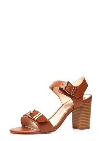 Womens Wide Fit Tan 'watermelon' Sandals Brown - predominant colour: tan; occasions: casual, creative work; material: leather; heel height: high; embellishment: buckles; heel: block; toe: open toe/peeptoe; style: standard; finish: plain; pattern: plain; season: s/s 2016; wardrobe: highlight