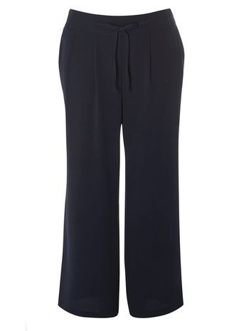 Navy Blue Pear Fit Wide Leg Trousers - length: standard; pattern: plain; waist detail: belted waist/tie at waist/drawstring; waist: mid/regular rise; predominant colour: navy; occasions: casual, evening, work, creative work; fibres: polyester/polyamide - stretch; fit: wide leg; pattern type: fabric; texture group: other - light to midweight; style: standard; season: s/s 2016; wardrobe: basic