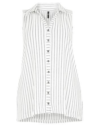 Black And White Stripe Sleeveless Shirt - neckline: shirt collar/peter pan/zip with opening; sleeve style: sleeveless; pattern: striped; style: shirt; predominant colour: white; secondary colour: mid grey; occasions: casual; length: standard; fibres: cotton - mix; fit: body skimming; sleeve length: sleeveless; pattern type: fabric; texture group: other - light to midweight; multicoloured: multicoloured; season: s/s 2016; wardrobe: highlight