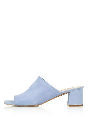 Nino Suede Mules - predominant colour: pale blue; material: suede; heel height: mid; heel: block; toe: open toe/peeptoe; style: mules; finish: plain; pattern: plain; occasions: creative work; season: s/s 2016; wardrobe: highlight