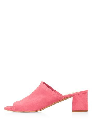 Nino Suede Mules - predominant colour: pink; occasions: casual, creative work; material: suede; heel height: mid; heel: block; toe: open toe/peeptoe; style: mules; finish: plain; pattern: plain; season: s/s 2016; wardrobe: highlight