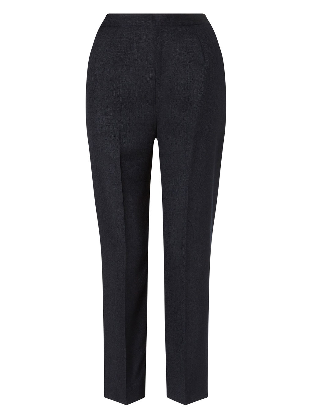 Basket Weave Trouser - pattern: plain; style: peg leg; waist: high rise; predominant colour: navy; length: ankle length; fibres: cotton - mix; fit: tapered; pattern type: fabric; texture group: woven light midweight; occasions: creative work; season: s/s 2016; wardrobe: basic