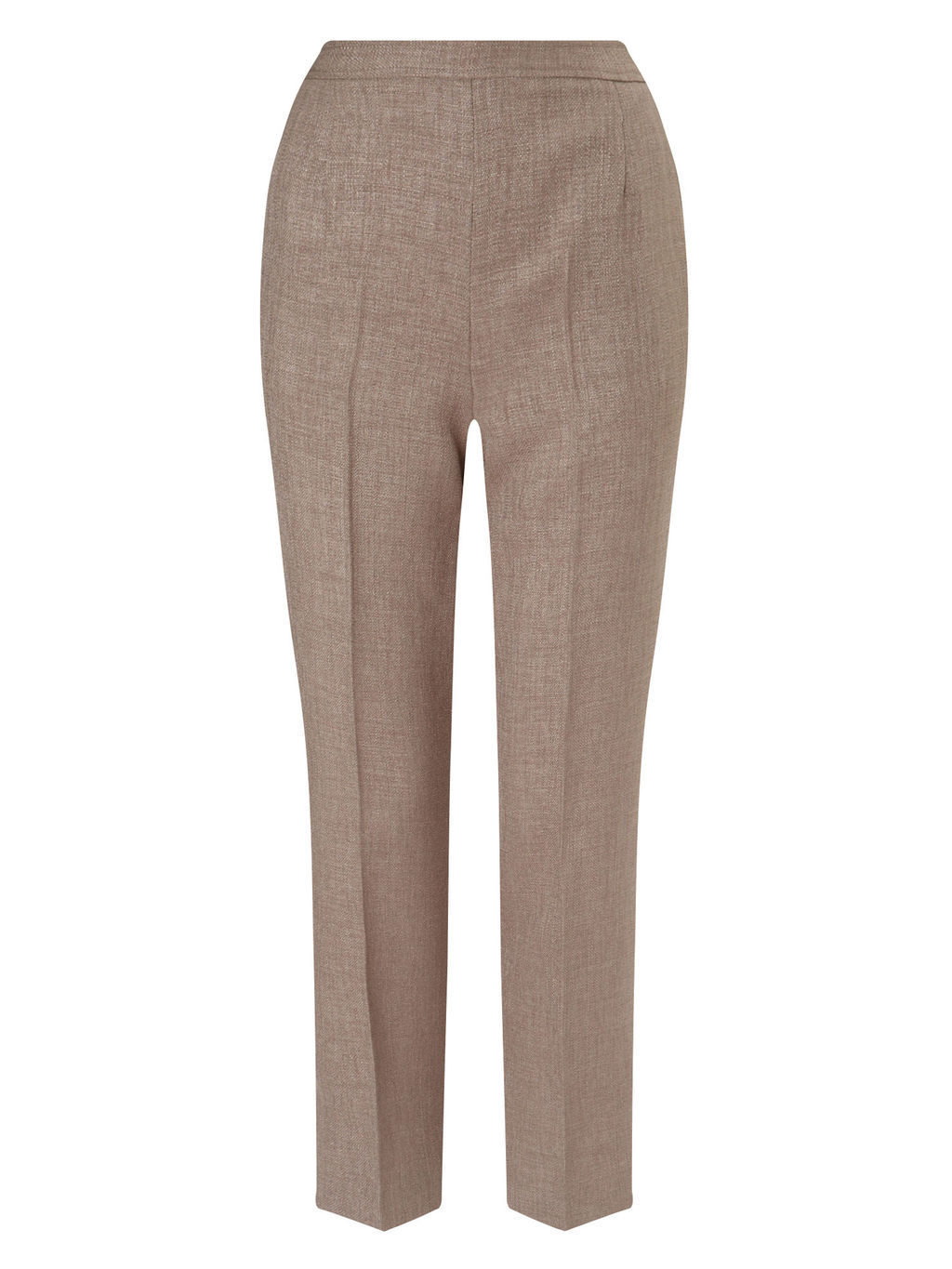 Basketweave Trouser Short - waist: high rise; predominant colour: taupe; occasions: casual, creative work; length: ankle length; fibres: cotton - mix; waist detail: feature waist detail; fit: slim leg; pattern type: fabric; texture group: woven light midweight; style: standard; pattern: marl; pattern size: light/subtle (bottom); season: s/s 2016; wardrobe: basic