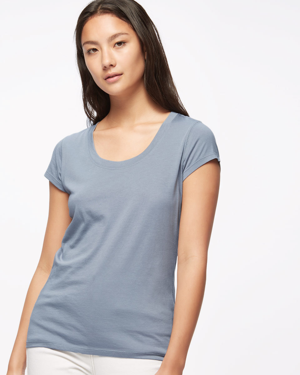 Pima Cotton T Shirt - neckline: round neck; pattern: plain; style: t-shirt; predominant colour: pale blue; occasions: casual; length: standard; fibres: cotton - 100%; fit: body skimming; sleeve length: short sleeve; sleeve style: standard; pattern type: fabric; texture group: jersey - stretchy/drapey; season: s/s 2016; wardrobe: highlight