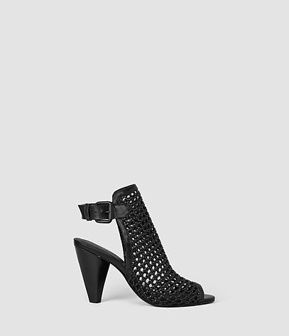 Branson Heel - predominant colour: black; occasions: casual; material: leather; heel height: high; ankle detail: ankle strap; heel: cone; toe: open toe/peeptoe; style: slingbacks; finish: plain; pattern: plain; season: s/s 2016; wardrobe: investment