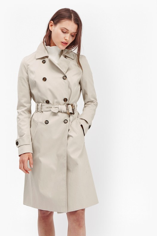 Canyon Twill Trench Coat Safari Sands - pattern: plain; style: double breasted; length: on the knee; predominant colour: ivory/cream; occasions: work; fit: tailored/fitted; fibres: cotton - stretch; collar: shirt collar/peter pan/zip with opening; waist detail: belted waist/tie at waist/drawstring; sleeve length: long sleeve; sleeve style: standard; texture group: technical outdoor fabrics; collar break: high/illusion of break when open; pattern type: fabric; season: s/s 2016; wardrobe: highlight