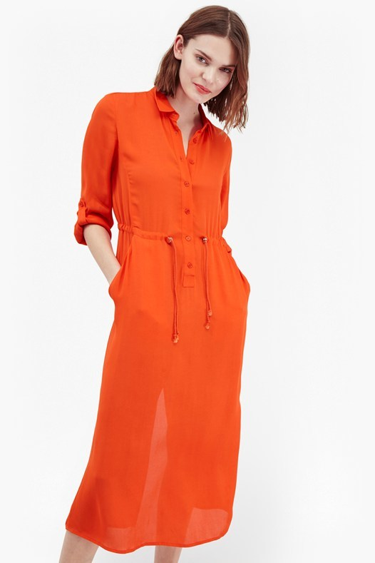 Cecil Drape Shirt Dress Masai Red - style: shirt; length: below the knee; neckline: shirt collar/peter pan/zip with opening; fit: fitted at waist; pattern: plain; waist detail: belted waist/tie at waist/drawstring; predominant colour: true red; fibres: polyester/polyamide - 100%; sleeve length: 3/4 length; sleeve style: standard; pattern type: fabric; texture group: other - light to midweight; occasions: creative work; season: s/s 2016