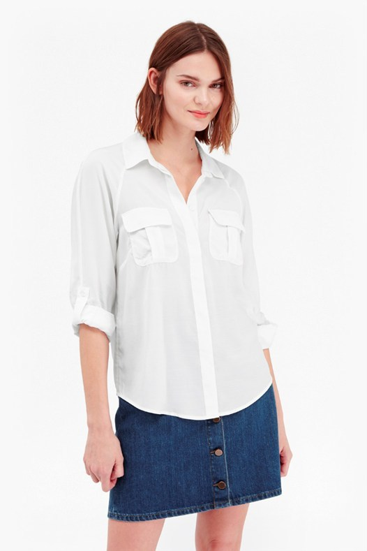 Cupro Spring Utilitarian Shirt Summer White - neckline: shirt collar/peter pan/zip with opening; pattern: plain; style: shirt; bust detail: subtle bust detail; predominant colour: white; occasions: casual, creative work; length: standard; fibres: cotton - 100%; fit: straight cut; sleeve length: 3/4 length; sleeve style: standard; texture group: cotton feel fabrics; pattern type: fabric; season: s/s 2016; wardrobe: basic
