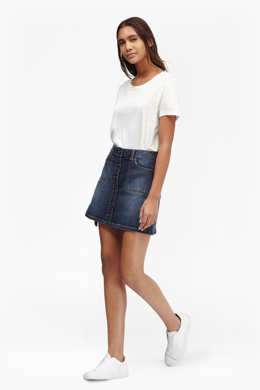 Tiffany Denim Mini Skirt Bleach - length: mini; pattern: plain; fit: loose/voluminous; waist: high rise; predominant colour: navy; occasions: casual, creative work; style: a-line; fibres: cotton - 100%; texture group: denim; pattern type: fabric; season: s/s 2016; wardrobe: basic