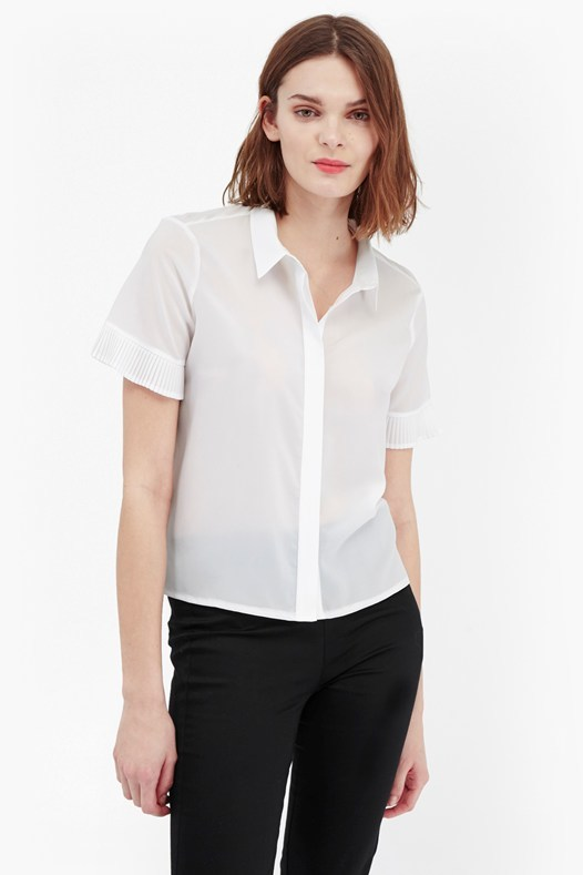 Polly Plains Frill Sleeve Shirt Black - neckline: shirt collar/peter pan/zip with opening; pattern: plain; style: shirt; predominant colour: white; occasions: casual; length: standard; fibres: cotton - 100%; fit: body skimming; sleeve length: short sleeve; sleeve style: standard; texture group: cotton feel fabrics; pattern type: fabric; season: s/s 2016; wardrobe: basic