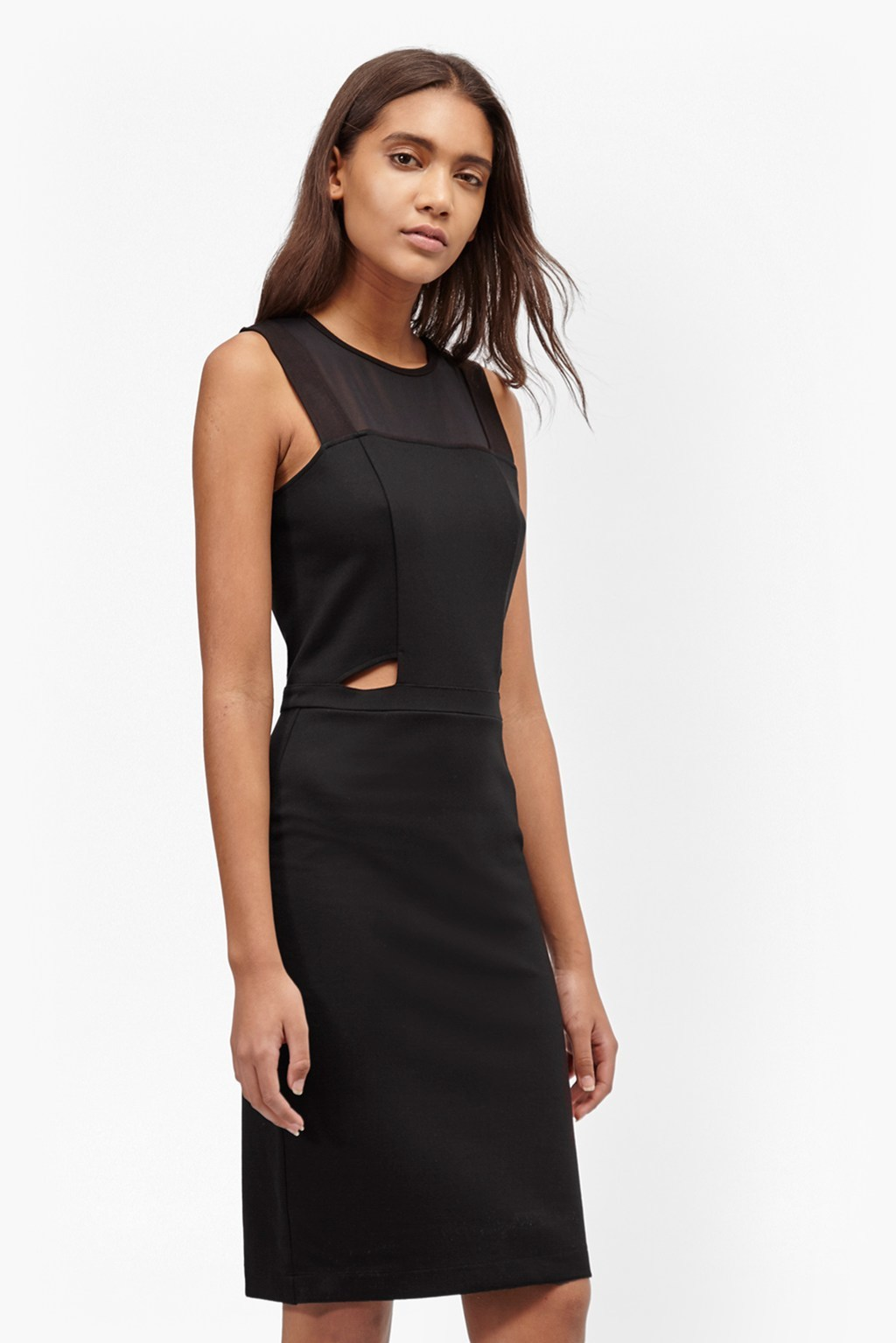 Lula Cut Out Fitted Dress Black - style: shift; fit: tailored/fitted; pattern: plain; sleeve style: sleeveless; predominant colour: black; occasions: evening; length: on the knee; neckline: crew; sleeve length: sleeveless; pattern type: fabric; texture group: jersey - stretchy/drapey; fibres: viscose/rayon - mix; season: s/s 2016; wardrobe: event
