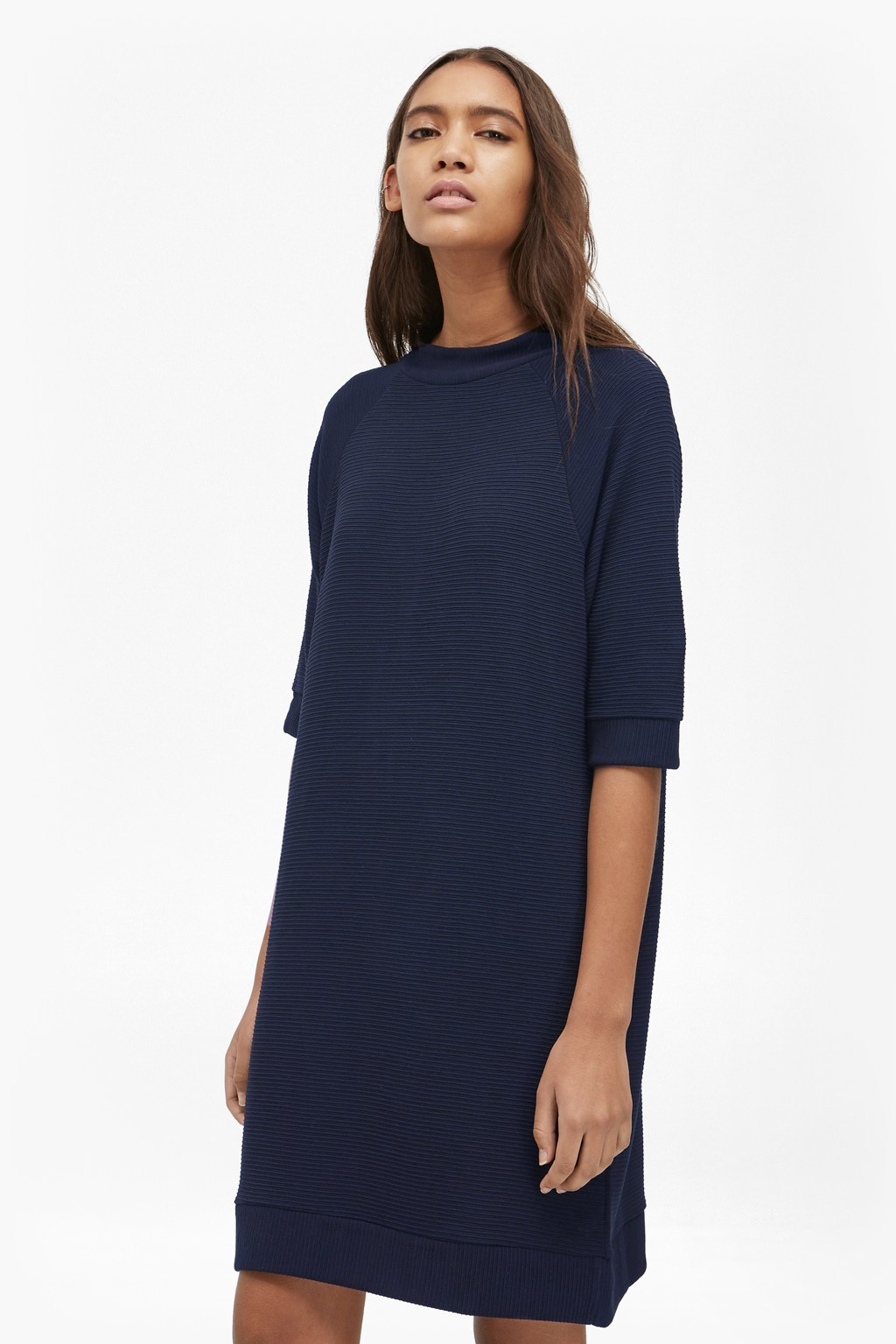 Summer Sudan Jumper Dress Utility Blue - style: shift; pattern: plain; predominant colour: navy; occasions: work, creative work; length: just above the knee; fit: body skimming; neckline: crew; sleeve length: 3/4 length; sleeve style: standard; texture group: knits/crochet; pattern type: knitted - fine stitch; fibres: viscose/rayon - mix; season: s/s 2016; wardrobe: investment