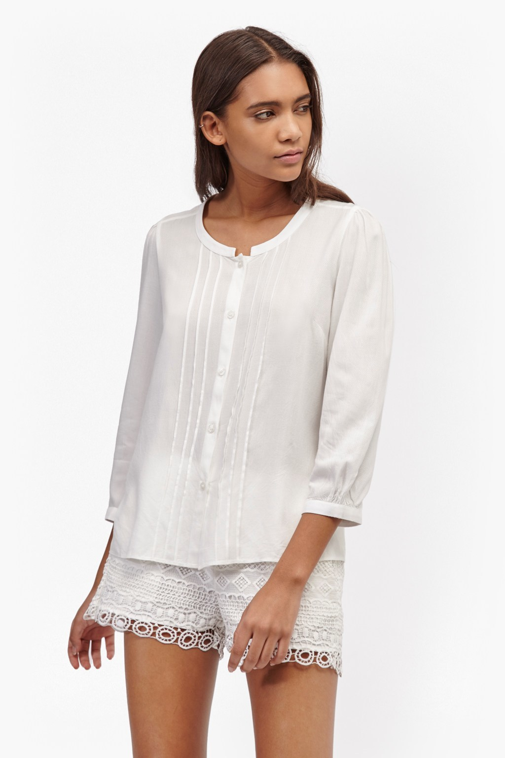 Empire Dot Embroidered Blouse Summer White - pattern: plain; style: blouse; bust detail: ruching/gathering/draping/layers/pintuck pleats at bust; predominant colour: white; occasions: casual; length: standard; neckline: collarstand; fibres: cotton - 100%; fit: straight cut; sleeve length: 3/4 length; sleeve style: standard; texture group: cotton feel fabrics; pattern type: fabric; season: s/s 2016