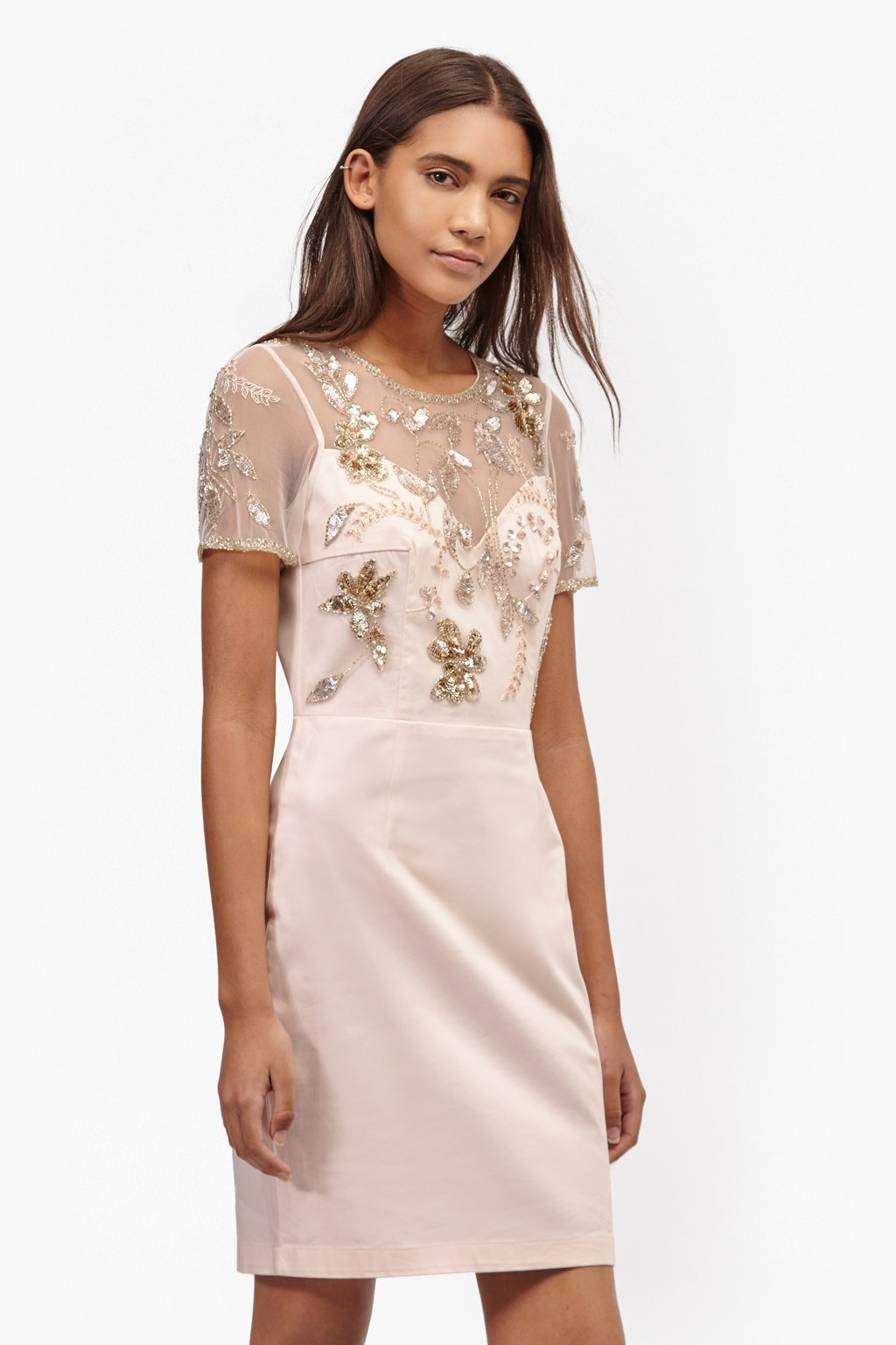 Horizon Light Embellished Dress Jasmine Pink - style: shift; length: mid thigh; neckline: round neck; fit: tailored/fitted; bust detail: added detail/embellishment at bust; predominant colour: blush; secondary colour: gold; occasions: evening, occasion; fibres: polyester/polyamide - 100%; sleeve length: short sleeve; sleeve style: standard; texture group: structured shiny - satin/tafetta/silk etc.; pattern type: fabric; pattern: patterned/print; embellishment: beading; shoulder detail: sheer at shoulder; season: s/s 2016