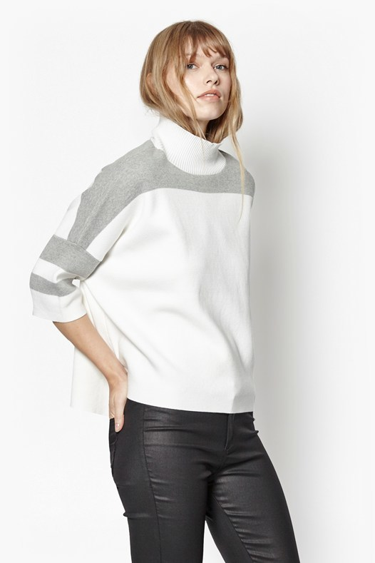 Mozart Oversized Colour Block Jumper Camel Mel Classic Cream - sleeve style: dolman/batwing; pattern: plain; neckline: roll neck; style: standard; predominant colour: white; secondary colour: light grey; occasions: casual; length: standard; fibres: cotton - 100%; fit: standard fit; sleeve length: 3/4 length; texture group: knits/crochet; pattern type: knitted - fine stitch; season: s/s 2016; wardrobe: basic