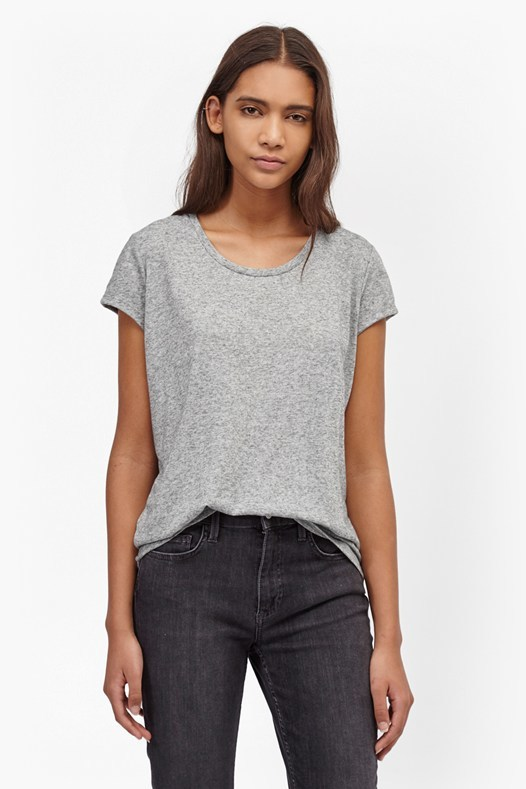 Hetty Marl T Shirt Indigo - neckline: round neck; style: t-shirt; predominant colour: light grey; occasions: casual; length: standard; fibres: cotton - stretch; fit: loose; sleeve length: short sleeve; sleeve style: standard; pattern type: fabric; pattern size: light/subtle; texture group: jersey - stretchy/drapey; pattern: marl; season: s/s 2016; wardrobe: basic