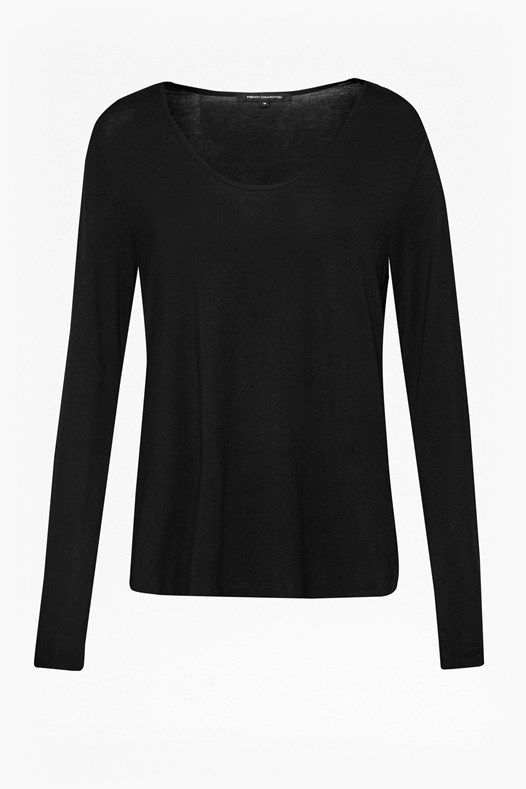Marley Jersey Long Sleeves Top Black - neckline: round neck; pattern: plain; predominant colour: black; occasions: casual, work, creative work; length: standard; style: top; fibres: cotton - stretch; fit: body skimming; sleeve length: long sleeve; sleeve style: standard; pattern type: fabric; texture group: jersey - stretchy/drapey; season: s/s 2016