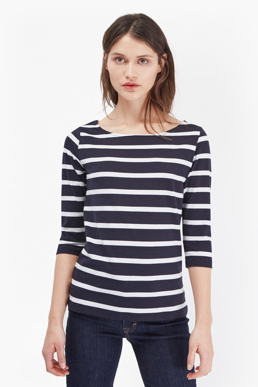 Tim Tim Bold Striped Top White/Utility Blue - neckline: slash/boat neckline; pattern: horizontal stripes; style: t-shirt; predominant colour: ivory/cream; occasions: casual, creative work; length: standard; fibres: cotton - stretch; fit: body skimming; sleeve length: 3/4 length; sleeve style: standard; texture group: jersey - clingy; pattern type: fabric; season: s/s 2016