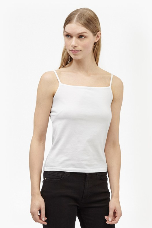 Jersey Cami Top White - sleeve style: spaghetti straps; pattern: plain; style: camisole; predominant colour: white; occasions: casual; length: standard; fibres: cotton - stretch; fit: body skimming; sleeve length: sleeveless; texture group: jersey - clingy; neckline: low square neck; pattern type: fabric; season: s/s 2016; wardrobe: basic