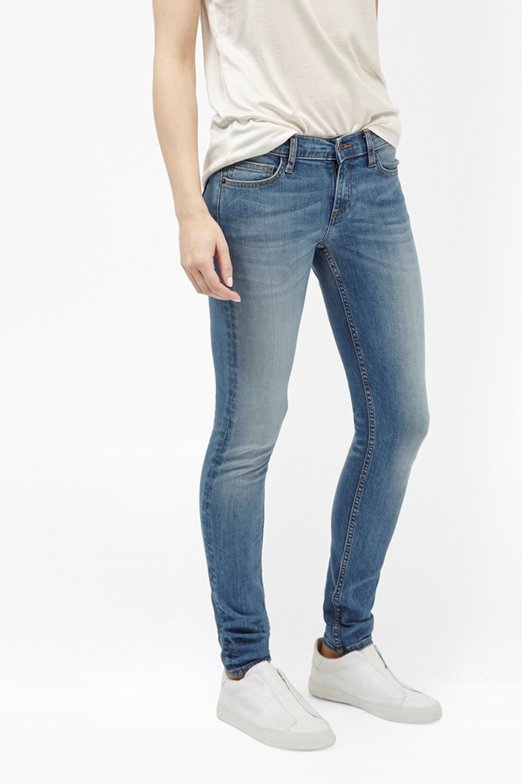Tiffany Skin Tight Jeans Bleach - style: skinny leg; length: standard; pattern: plain; waist: mid/regular rise; predominant colour: denim; occasions: casual, creative work; fibres: cotton - stretch; jeans detail: shading down centre of thigh; texture group: denim; pattern type: fabric; season: s/s 2016; wardrobe: basic