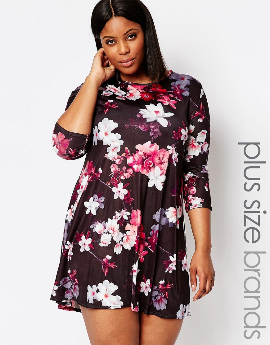 Plus Red Floral Swing Dress Red Floral - length: mini; secondary colour: white; predominant colour: aubergine; occasions: casual; fit: fitted at waist & bust; style: fit & flare; fibres: polyester/polyamide - stretch; neckline: crew; sleeve length: 3/4 length; sleeve style: standard; pattern type: fabric; pattern: florals; texture group: jersey - stretchy/drapey; multicoloured: multicoloured; season: s/s 2016; wardrobe: highlight
