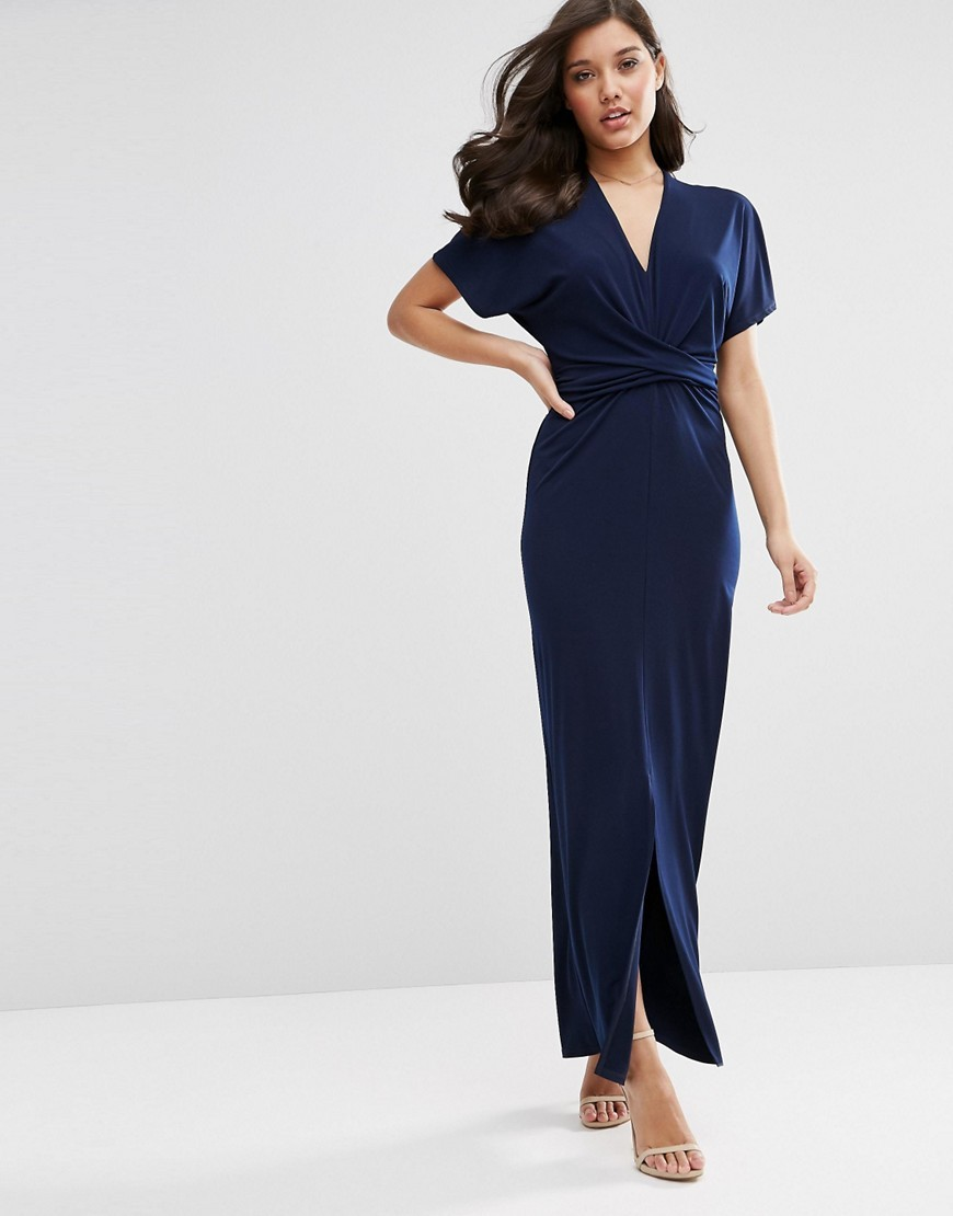Wrap Tie Detail Maxi Dress Navy - neckline: low v-neck; pattern: plain; style: maxi dress; length: ankle length; waist detail: fitted waist; predominant colour: navy; fit: body skimming; fibres: polyester/polyamide - 100%; occasions: occasion; sleeve length: short sleeve; sleeve style: standard; pattern type: fabric; texture group: jersey - stretchy/drapey; season: s/s 2016; wardrobe: event