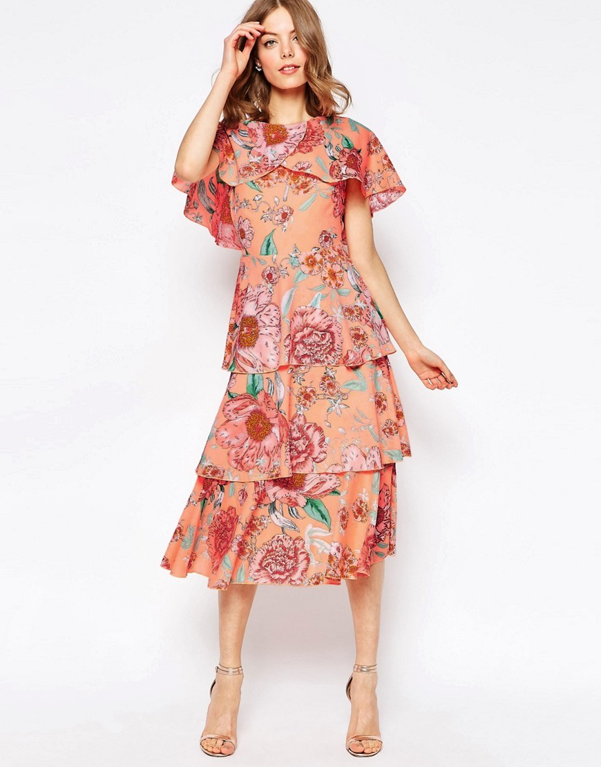 Cape Layered Midi Dress In Pastel Floral Multi - style: shift; length: below the knee; sleeve style: angel/waterfall; predominant colour: pink; fit: body skimming; fibres: polyester/polyamide - 100%; occasions: occasion; neckline: crew; hip detail: adds bulk at the hips; sleeve length: short sleeve; pattern type: fabric; pattern size: big & busy; pattern: florals; texture group: other - light to midweight; season: s/s 2016; wardrobe: event