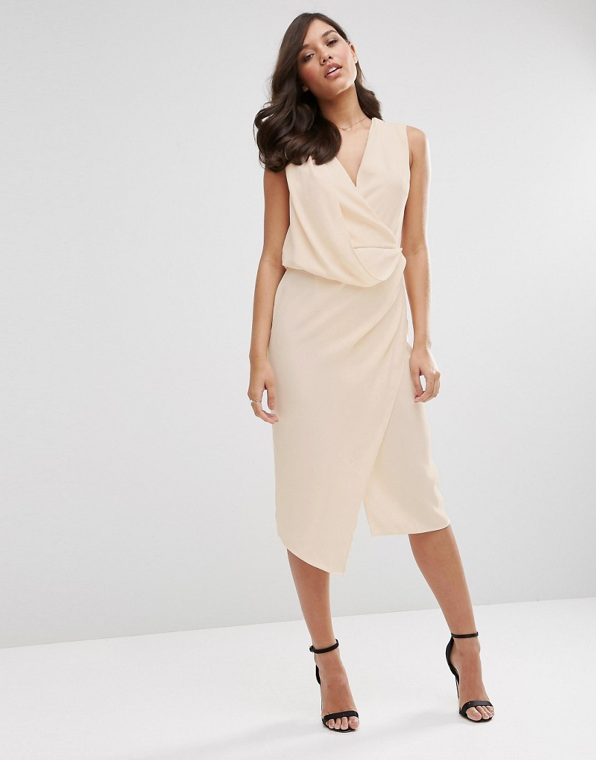 Wrap Front Midi Pencil Dress Nude - style: shift; length: below the knee; neckline: v-neck; fit: tailored/fitted; pattern: plain; sleeve style: sleeveless; waist detail: flattering waist detail; predominant colour: nude; fibres: polyester/polyamide - 100%; occasions: occasion; sleeve length: sleeveless; pattern type: fabric; texture group: other - light to midweight; season: s/s 2016; wardrobe: event