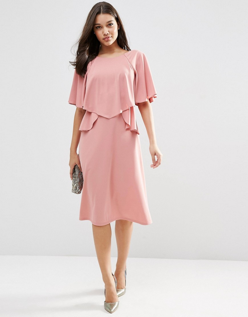 Full Soft Ruffle Midi Dress Mauve - style: shift; length: below the knee; neckline: round neck; sleeve style: angel/waterfall; pattern: plain; predominant colour: pink; fit: body skimming; fibres: polyester/polyamide - 100%; occasions: occasion; sleeve length: short sleeve; pattern type: fabric; texture group: other - light to midweight; season: s/s 2016; wardrobe: event