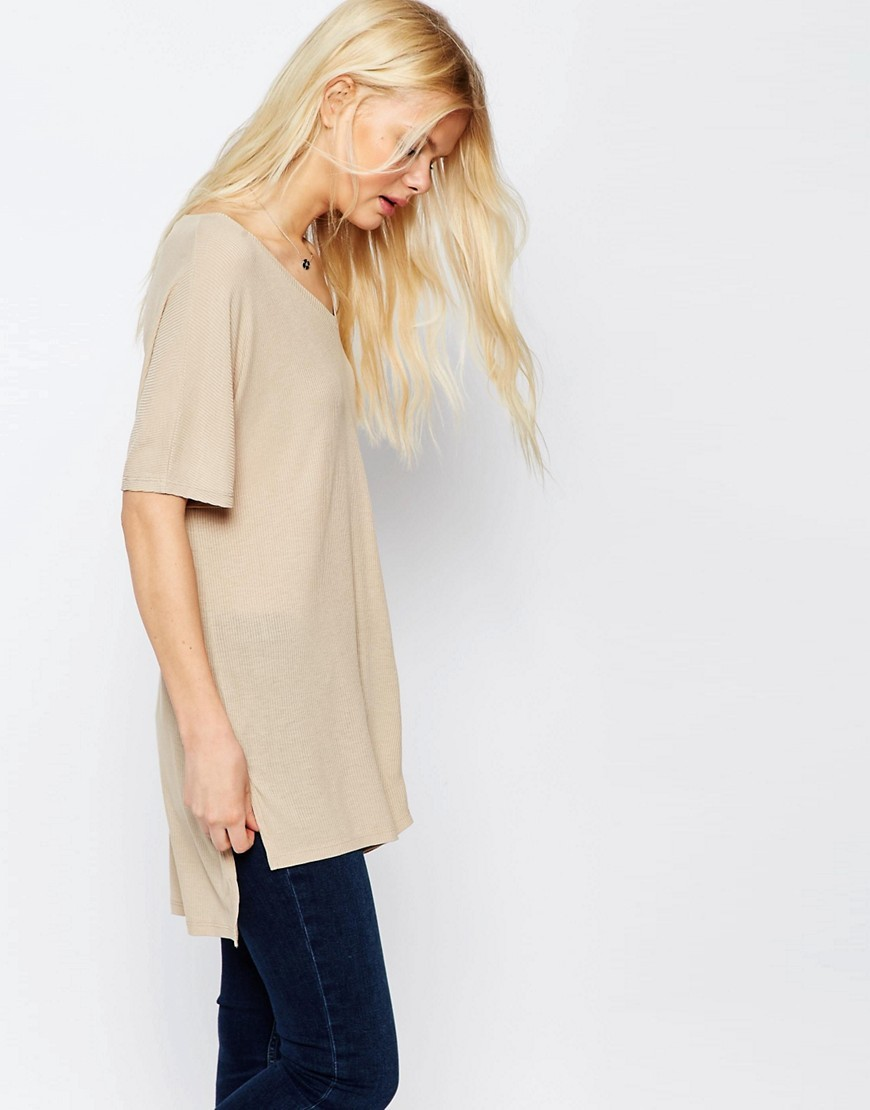 V Neck Oversized Slouchy Rib Putty - neckline: v-neck; pattern: plain; length: below the bottom; style: t-shirt; predominant colour: stone; occasions: casual; fibres: viscose/rayon - stretch; fit: loose; back detail: longer hem at back than at front; sleeve length: half sleeve; sleeve style: standard; pattern type: fabric; texture group: jersey - stretchy/drapey; season: s/s 2016; wardrobe: basic