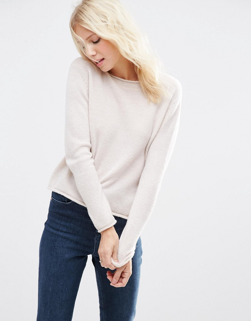 Cropped Jumper With Rolled Edge Detail In Fluffy Yarn Pale Oatmeal - pattern: plain; style: standard; predominant colour: ivory/cream; occasions: casual, work, creative work; length: standard; fibres: acrylic - mix; fit: standard fit; neckline: crew; sleeve length: long sleeve; sleeve style: standard; texture group: knits/crochet; pattern type: knitted - fine stitch; season: s/s 2016; wardrobe: basic