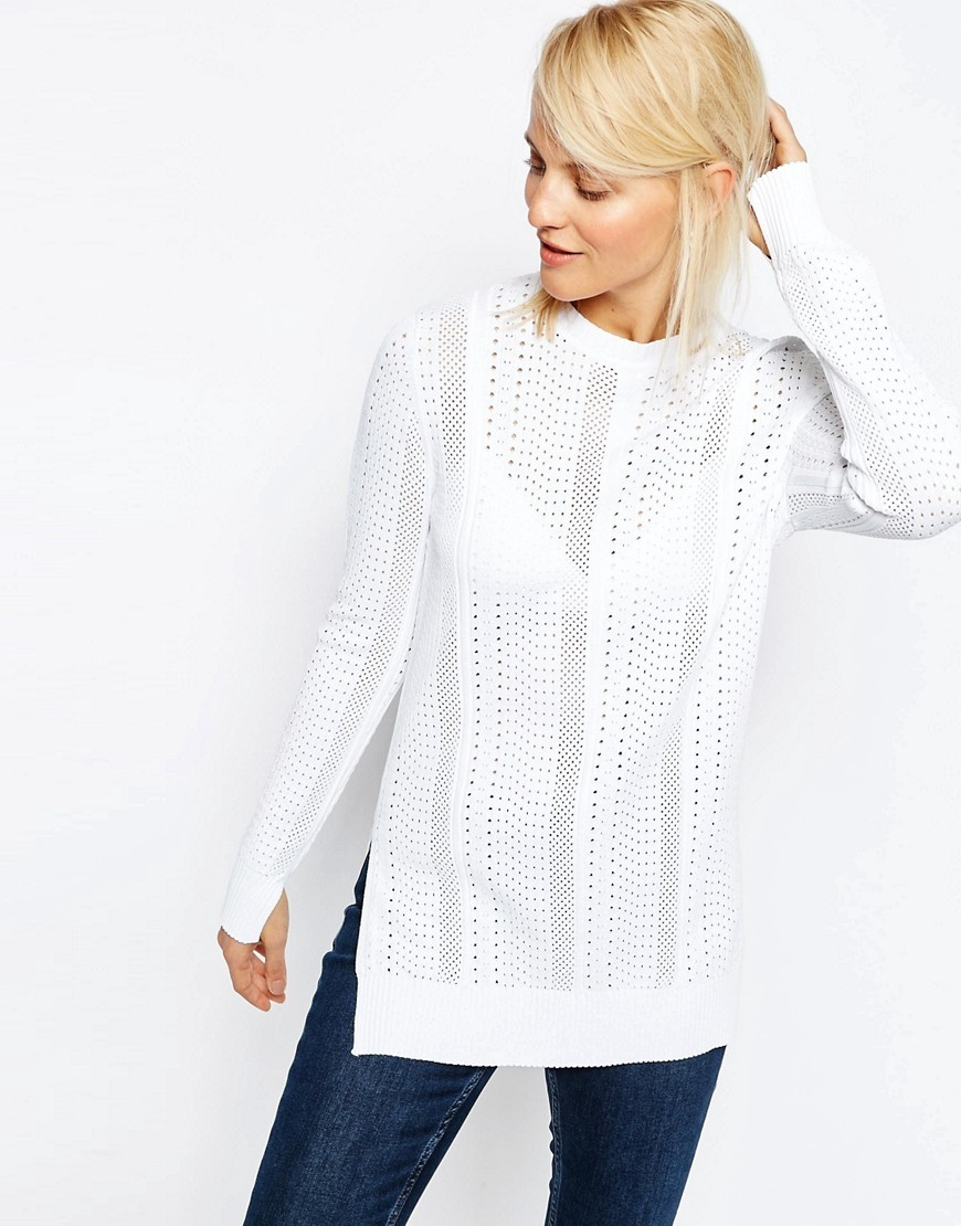 Jumper With Mesh Detail In Structured Yarn With Side Splits White - pattern: plain; length: below the bottom; style: standard; predominant colour: white; occasions: casual, creative work; fit: loose; neckline: crew; sleeve length: long sleeve; sleeve style: standard; texture group: knits/crochet; pattern type: knitted - fine stitch; fibres: viscose/rayon - mix; season: s/s 2016; wardrobe: basic