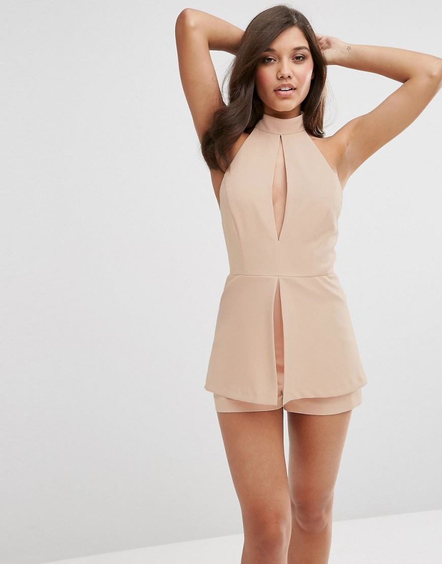 Playsuit With Soft Peplum And Keyhole Detail Nude - fit: tailored/fitted; pattern: plain; sleeve style: sleeveless; length: short shorts; predominant colour: nude; occasions: evening; neckline: peep hole neckline; fibres: polyester/polyamide - stretch; sleeve length: sleeveless; style: playsuit; pattern type: fabric; texture group: other - light to midweight; season: s/s 2016; wardrobe: event