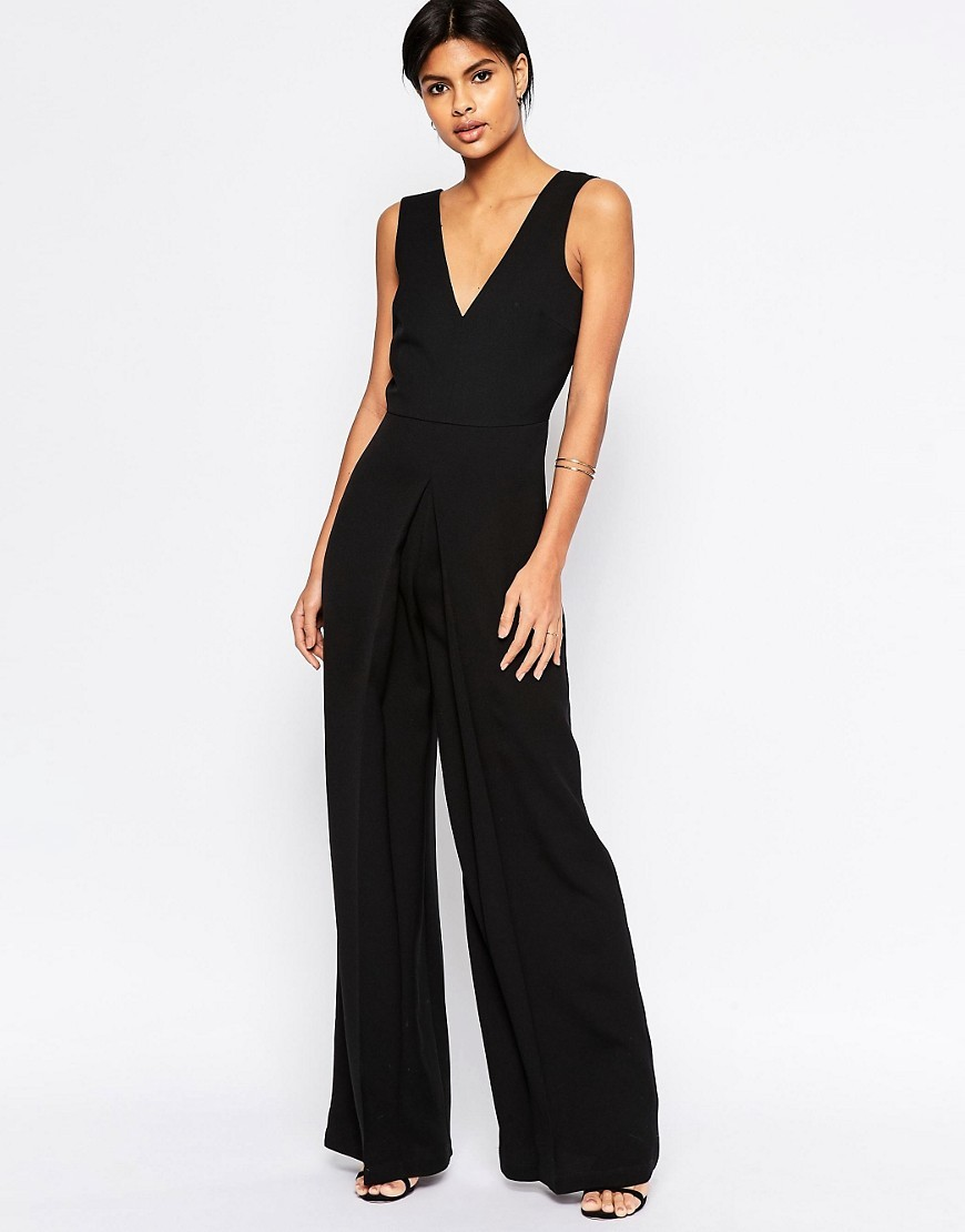 V Neck Jumpsuit In Wide Leg With Pleat Black - length: standard; neckline: low v-neck; sleeve style: standard vest straps/shoulder straps; fit: tailored/fitted; pattern: plain; predominant colour: black; occasions: evening, occasion; fibres: polyester/polyamide - 100%; sleeve length: sleeveless; texture group: crepes; style: jumpsuit; pattern type: fabric; season: s/s 2016; wardrobe: event