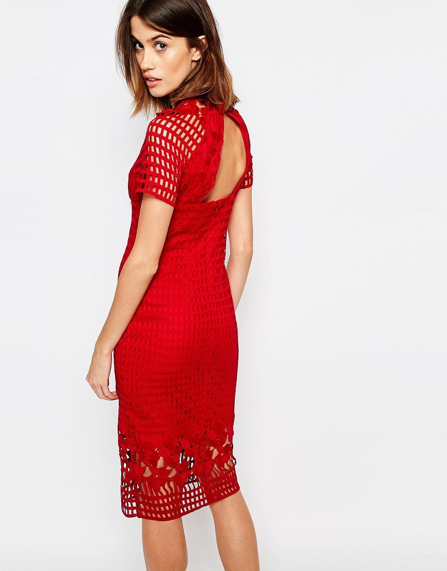 Premium Lace Pencil Dress Red - fit: tight; style: bodycon; predominant colour: true red; occasions: evening; length: on the knee; fibres: polyester/polyamide - 100%; neckline: crew; sleeve length: short sleeve; sleeve style: standard; texture group: lace; pattern type: fabric; pattern: patterned/print; embellishment: lace; shoulder detail: sheer at shoulder; season: s/s 2016