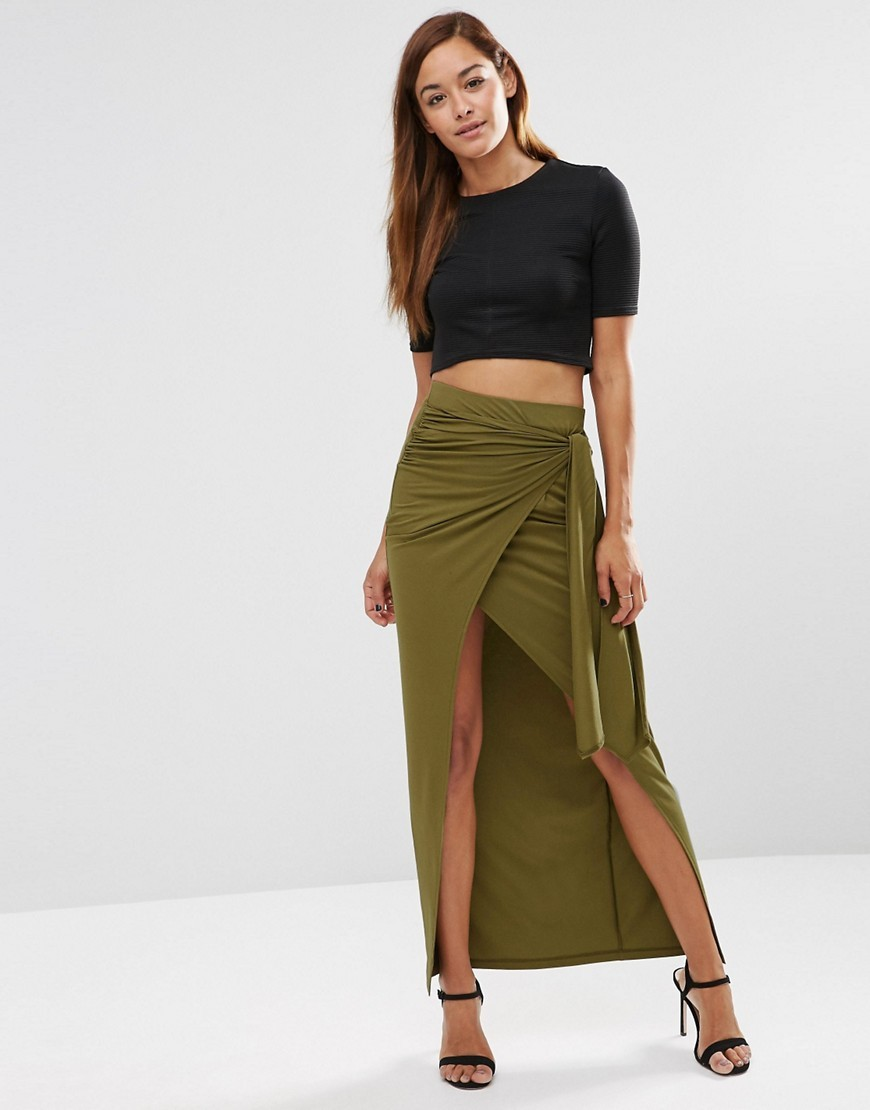 Maxi Skirt With Twist Knot Khaki - pattern: plain; length: ankle length; fit: body skimming; waist: high rise; hip detail: draws attention to hips; predominant colour: khaki; occasions: casual, evening; style: maxi skirt; fibres: viscose/rayon - stretch; pattern type: fabric; texture group: jersey - stretchy/drapey; season: s/s 2016; wardrobe: basic