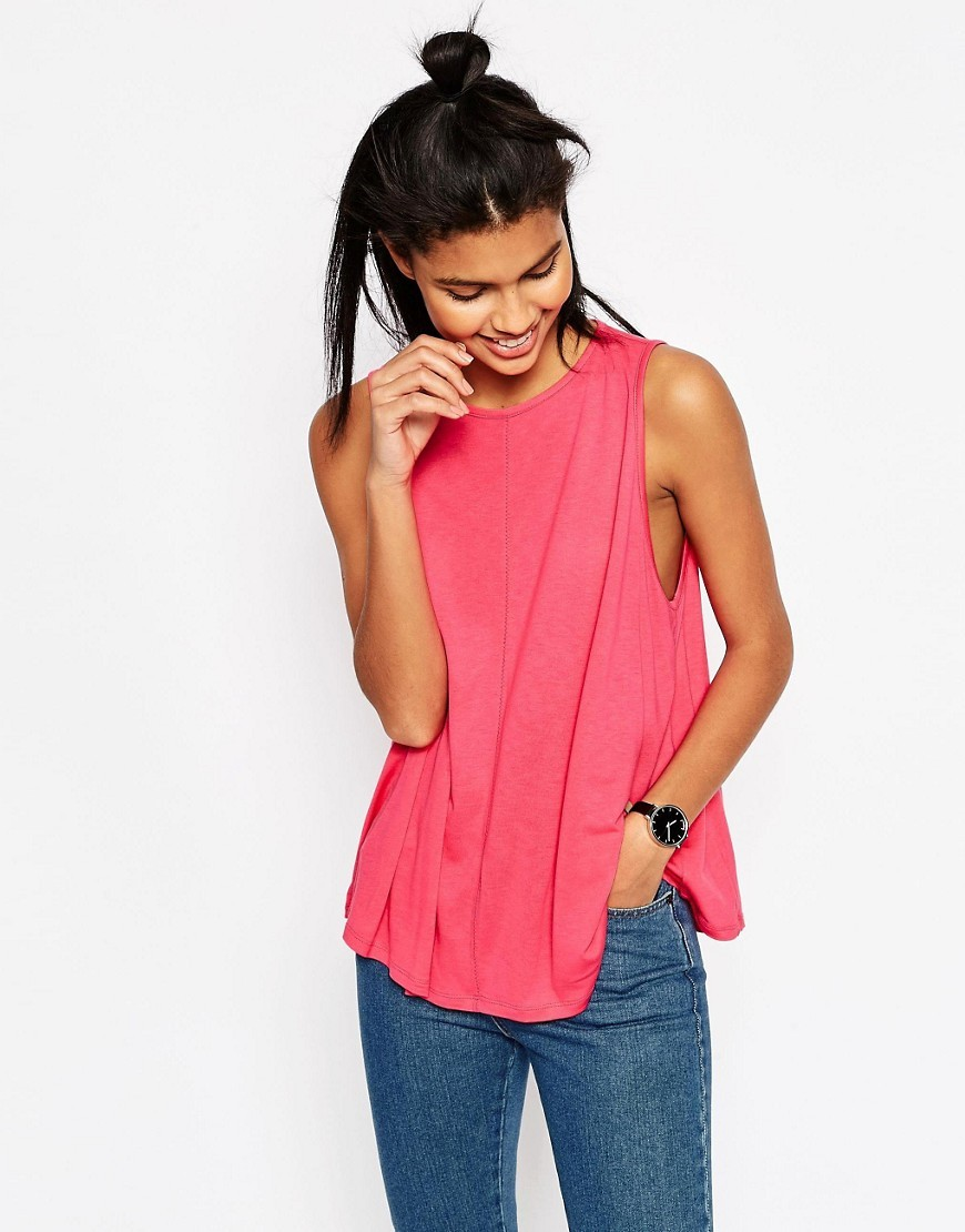 Swing Vest With Drape Coral Orange - neckline: round neck; sleeve style: standard vest straps/shoulder straps; pattern: plain; length: below the bottom; style: vest top; predominant colour: coral; occasions: casual; fibres: viscose/rayon - 100%; fit: loose; sleeve length: sleeveless; pattern type: fabric; texture group: jersey - stretchy/drapey; season: s/s 2016; wardrobe: highlight