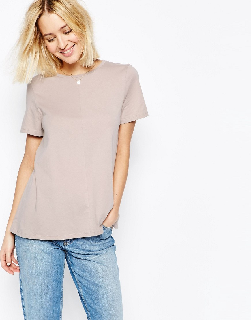 Swing T Shirt Mink - pattern: plain; style: t-shirt; predominant colour: stone; occasions: casual; length: standard; fibres: cotton - 100%; fit: body skimming; neckline: crew; sleeve length: short sleeve; sleeve style: standard; texture group: crepes; pattern type: fabric; season: s/s 2016; wardrobe: basic