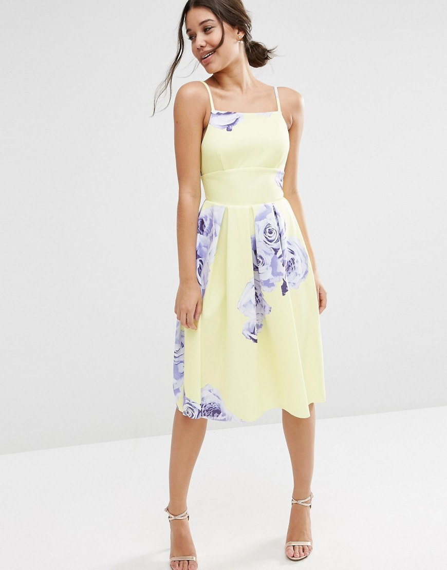 Large Floral Printed Pinny Midi Dress Yellow Print - length: below the knee; sleeve style: spaghetti straps; secondary colour: denim; predominant colour: primrose yellow; occasions: casual; fit: fitted at waist & bust; style: fit & flare; fibres: polyester/polyamide - stretch; sleeve length: sleeveless; neckline: medium square neck; pattern type: fabric; pattern: florals; texture group: jersey - stretchy/drapey; multicoloured: multicoloured; season: s/s 2016