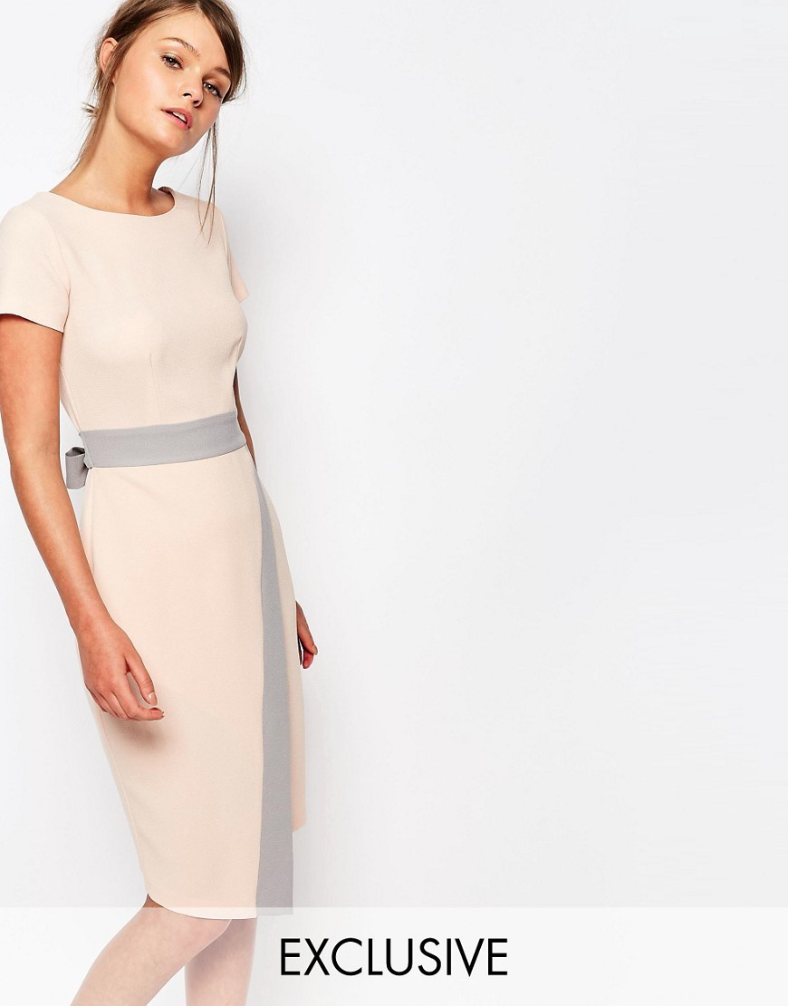 Closet 2 In 1 Midi Dress With Wrap Skirt And Contrast Cream/Taupe - style: shift; length: below the knee; neckline: round neck; fit: tailored/fitted; predominant colour: blush; secondary colour: light grey; fibres: polyester/polyamide - 100%; occasions: occasion, creative work; hip detail: added detail/embellishment at hip; waist detail: narrow waistband; back detail: embellishment at back; sleeve length: short sleeve; sleeve style: standard; texture group: crepes; pattern type: fabric; pattern size: standard; pattern: colourblock; embellishment: bow; season: s/s 2016; wardrobe: highlight