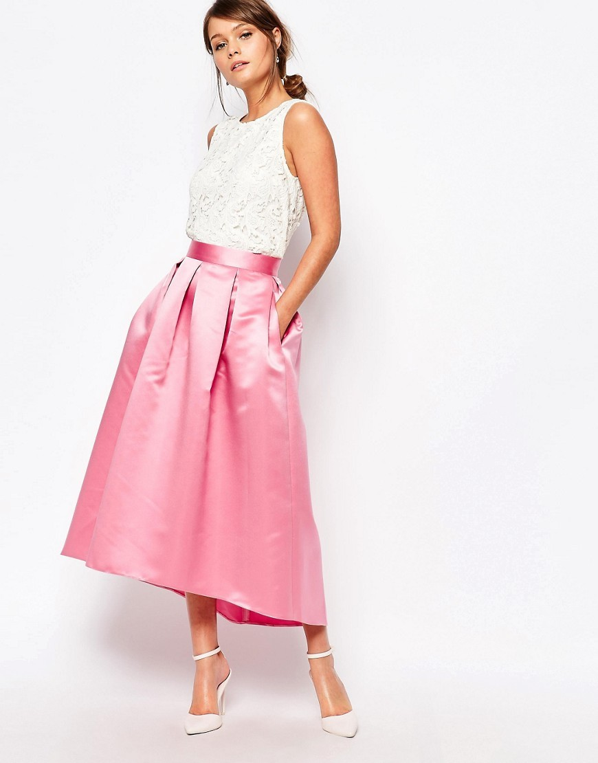 Closet Full Prom Midi Skirt In Sateen Pink - length: calf length; pattern: plain; style: full/prom skirt; fit: loose/voluminous; waist: high rise; predominant colour: pink; fibres: polyester/polyamide - 100%; occasions: occasion; hip detail: adds bulk at the hips; waist detail: feature waist detail; texture group: structured shiny - satin/tafetta/silk etc.; pattern type: fabric; season: s/s 2016; wardrobe: event