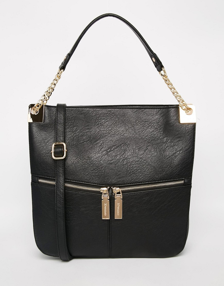 Shoulder Bag All Black - predominant colour: black; occasions: casual, work, creative work; type of pattern: standard; style: shoulder; length: shoulder (tucks under arm); size: small; material: faux leather; embellishment: zips; pattern: plain; finish: plain; season: s/s 2016; wardrobe: investment