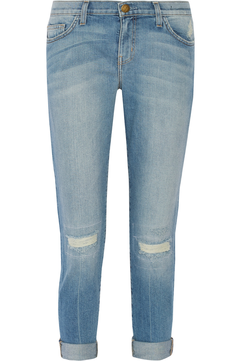 The Stiletto Distressed Mid Rise Skinny Jeans Light Denim - style: skinny leg; length: standard; pattern: plain; pocket detail: traditional 5 pocket; waist: mid/regular rise; predominant colour: denim; occasions: casual; fibres: cotton - stretch; jeans detail: whiskering, shading down centre of thigh, rips; jeans & bottoms detail: turn ups; texture group: denim; pattern type: fabric; season: s/s 2016; wardrobe: basic