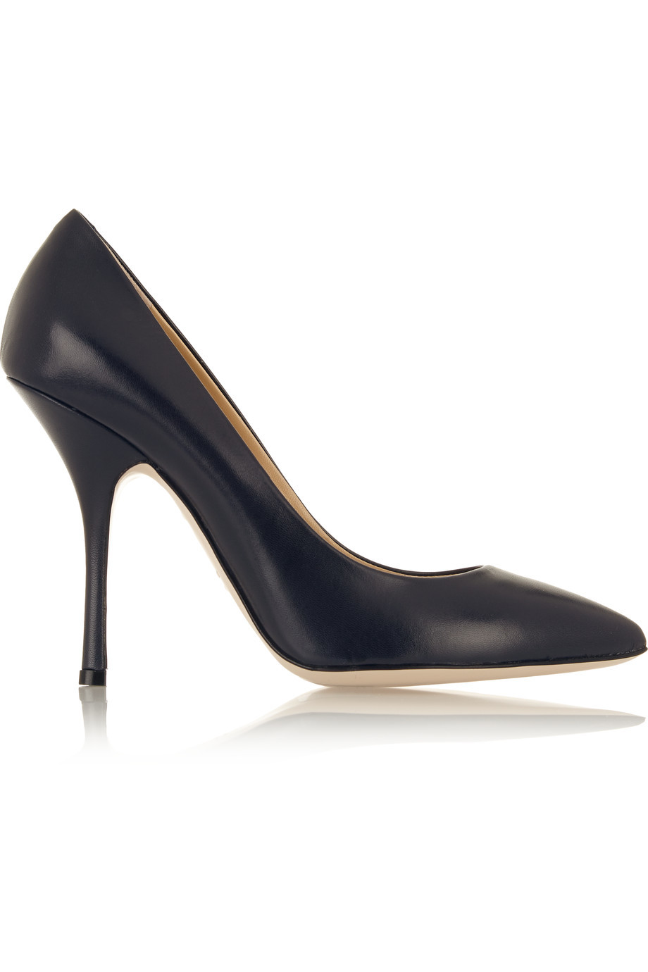 Leather Pumps Midnight Blue - predominant colour: black; occasions: evening, work, occasion; material: leather; heel: stiletto; toe: pointed toe; style: courts; finish: plain; pattern: plain; heel height: very high; season: s/s 2016; wardrobe: highlight
