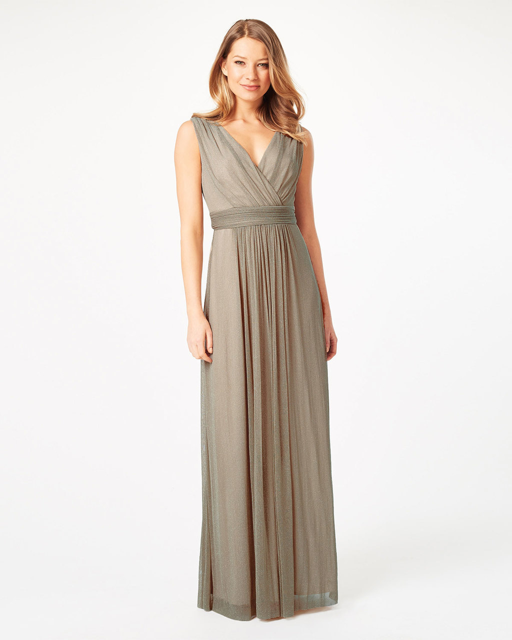 Millicent Maxi Dress - neckline: v-neck; pattern: plain; sleeve style: sleeveless; style: maxi dress; waist detail: belted waist/tie at waist/drawstring; predominant colour: taupe; length: floor length; fit: body skimming; fibres: nylon - mix; occasions: occasion; sleeve length: sleeveless; pattern type: fabric; texture group: other - light to midweight; season: s/s 2016