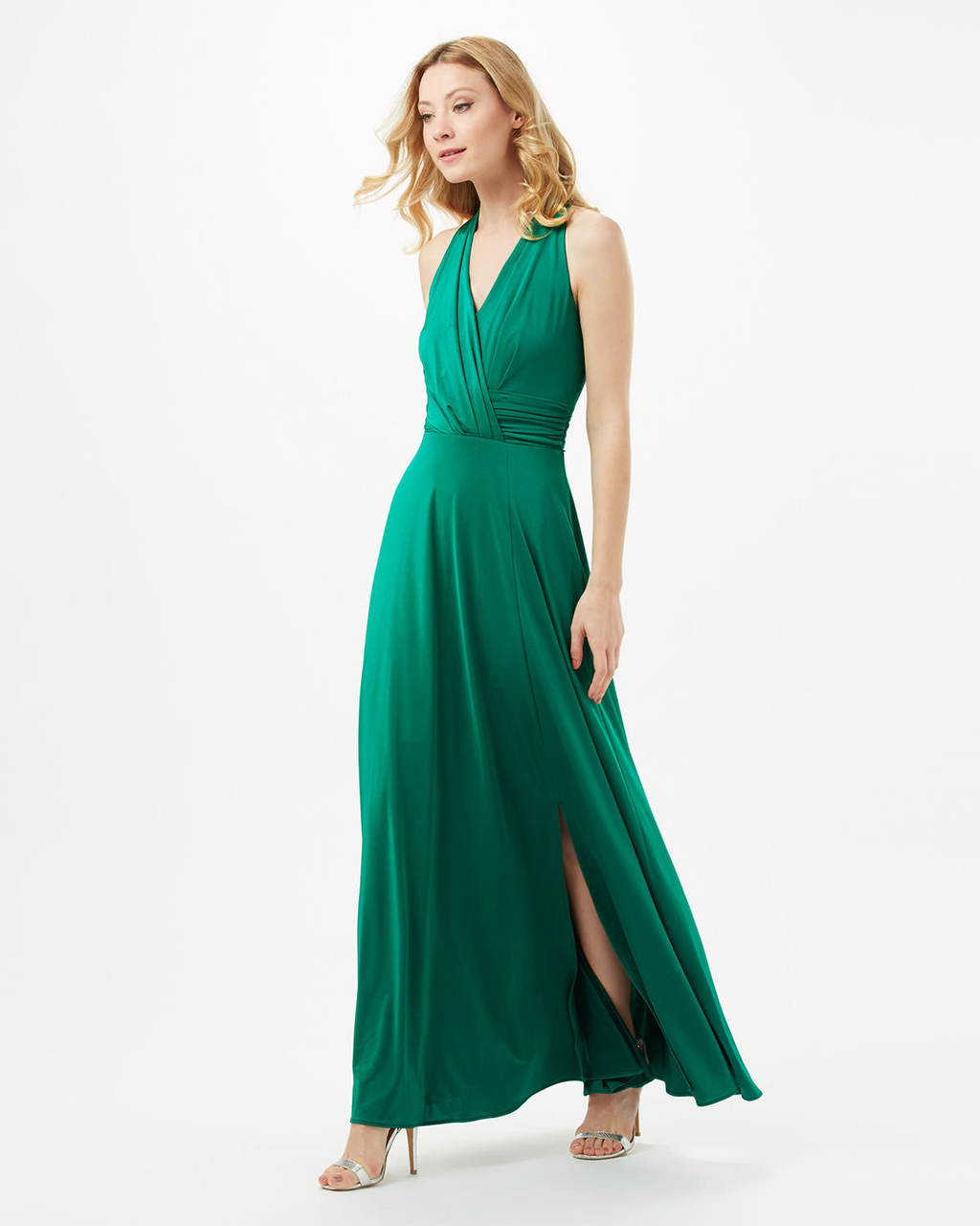 Astrid Maxi Dress - neckline: v-neck; fit: fitted at waist; pattern: plain; sleeve style: sleeveless; style: maxi dress; length: ankle length; predominant colour: emerald green; occasions: evening, occasion, holiday; fibres: polyester/polyamide - 100%; hip detail: slits at hip; sleeve length: sleeveless; pattern type: fabric; texture group: jersey - stretchy/drapey; season: s/s 2016