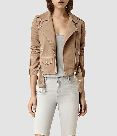Hitchen Suede Biker Jacket - pattern: plain; style: biker; collar: asymmetric biker; predominant colour: camel; occasions: casual, creative work; length: standard; fit: tailored/fitted; fibres: leather - 100%; sleeve length: long sleeve; sleeve style: standard; collar break: low/open; pattern type: fabric; texture group: suede; season: s/s 2016; wardrobe: basic