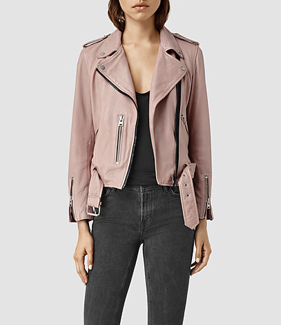 Wyatt Zip Leather Biker Jacket - pattern: plain; style: biker; collar: asymmetric biker; fit: slim fit; occasions: casual, creative work; sleeve length: long sleeve; sleeve style: standard; texture group: leather; collar break: medium; pattern type: fabric; predominant colour: dusky pink; fibres: viscose/rayon - mix; length: cropped; season: s/s 2016