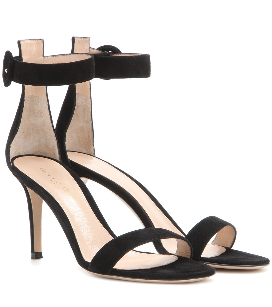 Portofino Suede Sandals - predominant colour: black; occasions: evening, occasion; material: suede; heel height: high; ankle detail: ankle strap; heel: stiletto; toe: open toe/peeptoe; style: standard; finish: plain; pattern: plain; season: s/s 2016